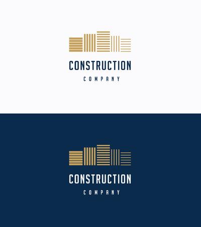 logotipo de construccion: Edificios premium planas logotipo de la plantilla