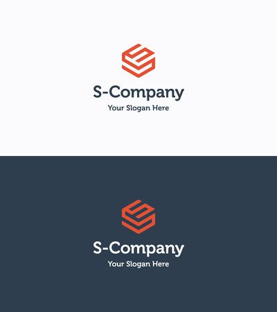 Frame Cube 3D logo template met letter S Stock Illustratie