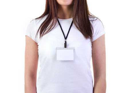 id badge: Girl in white t-shirt with badge mock-up isolated on white Stock Photo
