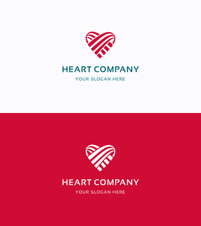 Heart Company love flat logo Illustration