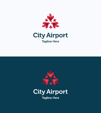 shipping by air: City Airport Logo Illustration