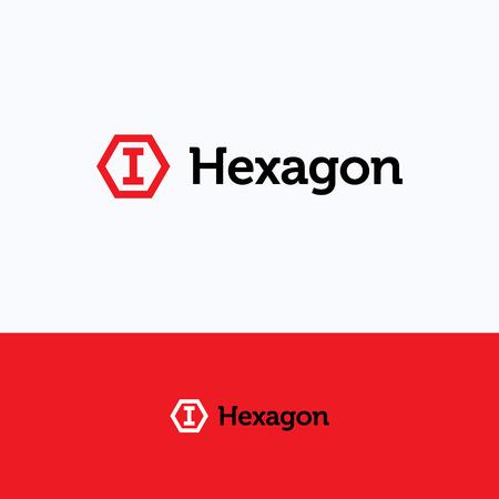 3d  bolt: Hexagon 3D cube frame i letter bolt logo
