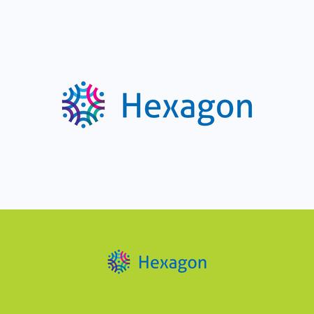 logo ordinateur: Hexagon cadre ornement overprint groupe gens logo Illustration