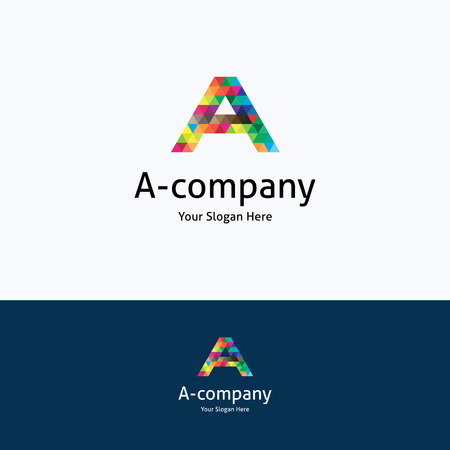 logo marketing: A-company mosaic alphabet pattern logo Illustration