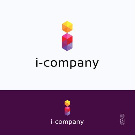 i-company mosaic alphabet pattern hexagon logo