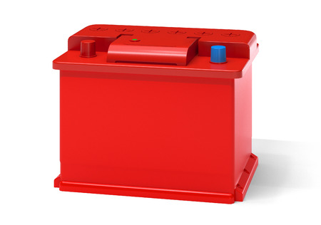12v: Red car battery isolated on white. Vehicle accumulator Stock Photo