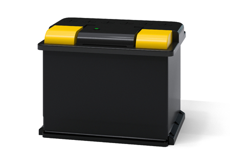 accumulator: Yellow black car battery isolated on white. Vehicle accumulator