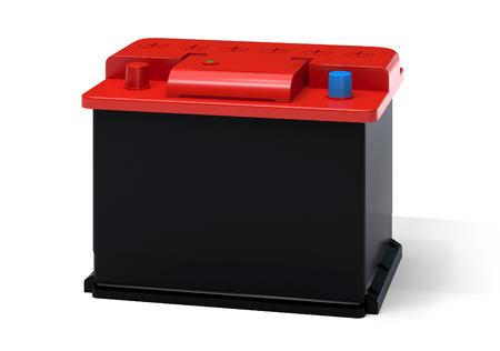 accumulator: Red black car battery isolated on white. Vehicle accumulator