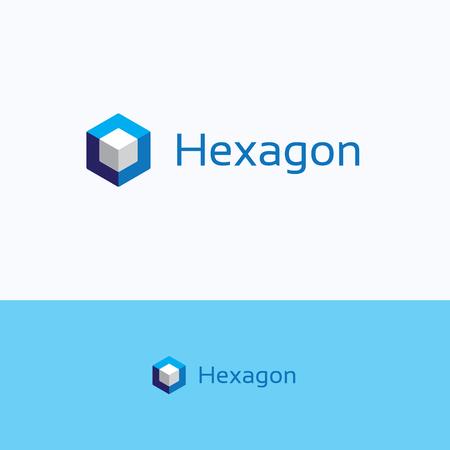 Hexagon 3D cube o letter logo