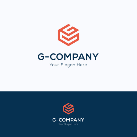 cubo: logotipo del cubo letra g hexágono 3D