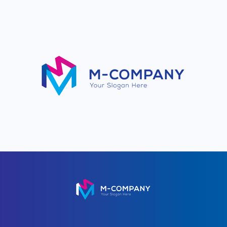 creativity logo: Hexagon 3D cube m letter overprint logo Illustration