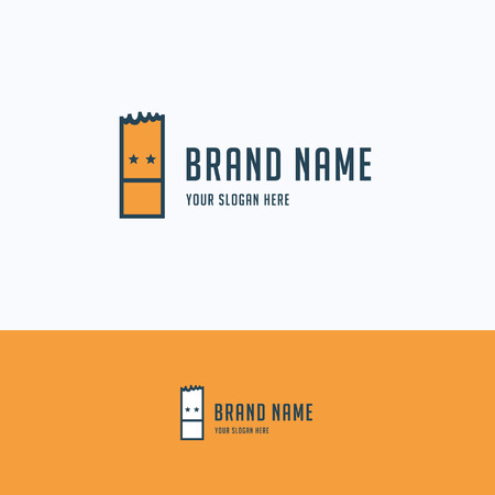 simple logo: Face rectangle simple paper man ticket logo Illustration