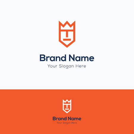 simple logo: Face rectangle simple king man logo