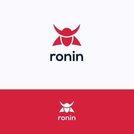 simple logo: Face simple ronin man samurai logo