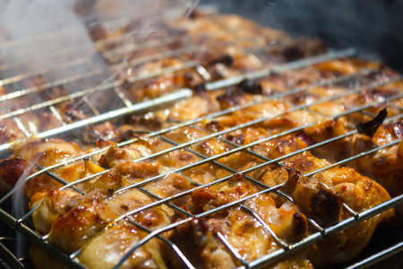 grille: barbecue chiken grille background Stock Photo