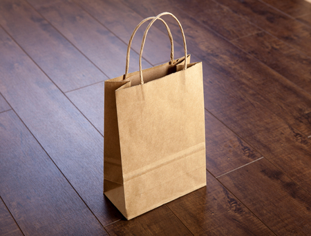 paper bag: Photo of bag. Template for branding identity