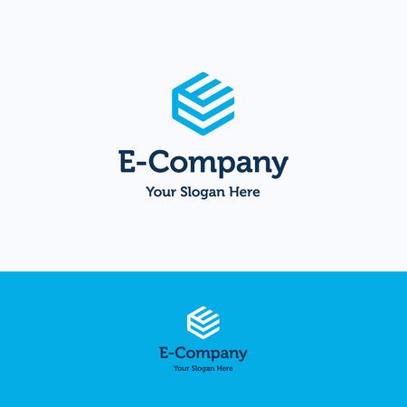 Hexagon 3D cube e letter logo