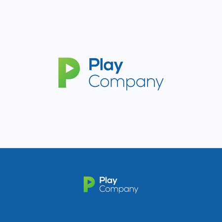 multimedia: P play letter video logo