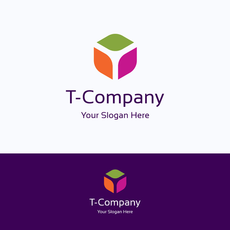 T, letter, alphabet box cube 3d, hexagon logo