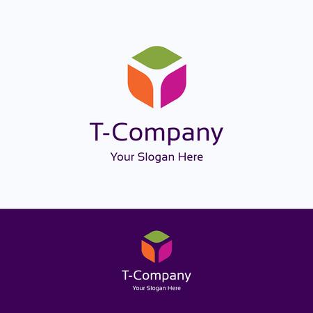 T, lettre, boîte cube 3d alphabet, logo hexagone Logo