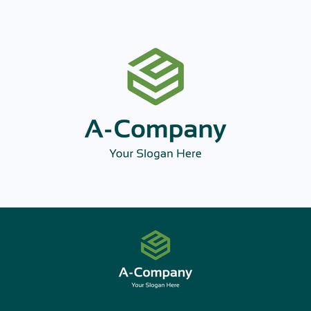 A, lettre, boîte de grille alphabet cube logo