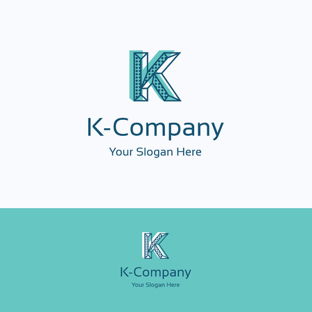 K letter alphabet dots edge art shift logo