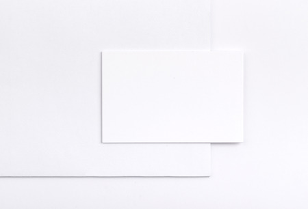 Photo of business cards isolated on white. Business cards template for branding identity. Business cards For graphic designers presentations and portfolios. Branding, brand, template, identity, design, Business Card, business, print, mock-up, mock up, moc Stock Photo