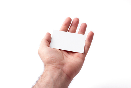 Foto Von Visitenkarten Isoliert Auf Weiß In Den Händen