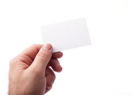 Photo of business cards isolated on white holding in hands. Business cards template for branding identity. Business cards For graphic designers presentations and portfolios. Branding, brand, template, identity, design, Business Card, business, print, mock