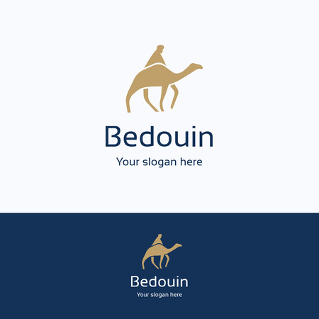 nomad: Bedouin nomad camel silhouette logo, night sand headdress male logotype, keffiyeh middle east person symbol, blue scarf traditional yellow template, beige path road desert logo isolated on white.