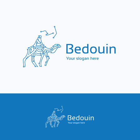 nomad: Bedouin nomad camel chip night logo, digital headdress male keffiyeh logotype, middle east person blue scarf symbol, traditional electronic computer template, path road desert logo isolated on white background.