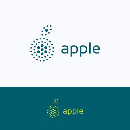apple leaf: Apple dots leaf city logo, green eco ecology group logotype, cenrte fruit hexagon round symbol, points circles peach flower template, bio macro gravity cut isolated on white background logo. Illustration