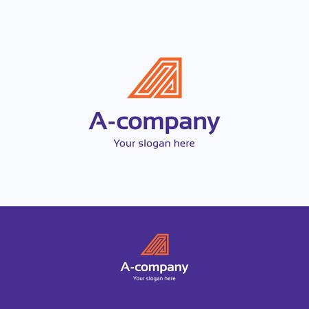 directions icon: A letter alphabet orange logotype Illustration