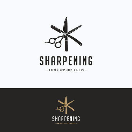 Sharpening service logo. Scissors sharpening beige gray logotype. Knife silhouette tool sharpening template