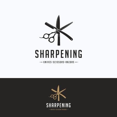 Sharpening service logo. Scissors sharpening beige gray logotype. Knife silhouette tool sharpening template