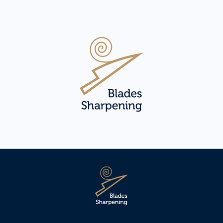 Sharpening service spiral logo. Knife sharpening shavings beige blue logotype. Knife silhouette tool sharpening template  イラスト・ベクター素材
