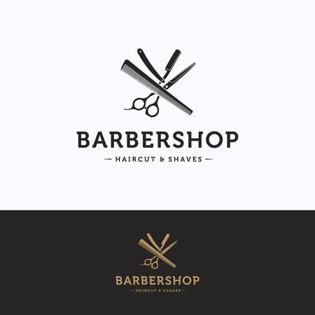 haircutter: Barbershop vintage logo. Scissors hairdresser beige gray logotype. Barber tool logo template Illustration
