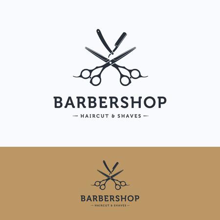 Barbershop vintage logo. Scissors hairdresser white blue logotype. Barber tool straight razor logo template Ilustração