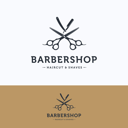 Barbershop vintage logo. Scissors hairdresser white blue logotype. Barber tool straight razor logo template Illustration
