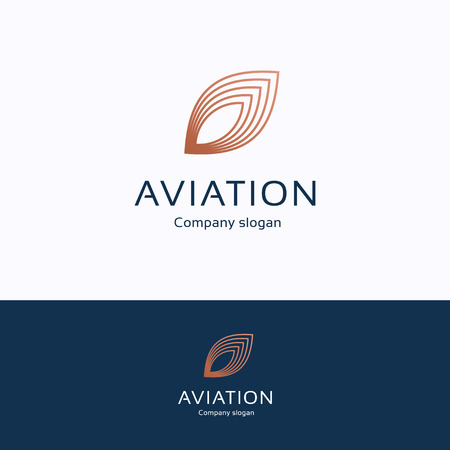 Aviation logo. Feather copper blue logotype. Wing avia transport template