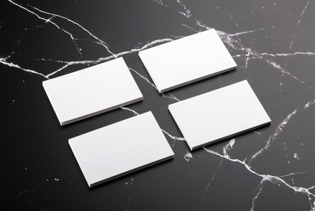 Photo of white business cards on marble template for branding photo of white business cards on marble template for branding identity isolated on marble background friedricerecipe Image collections