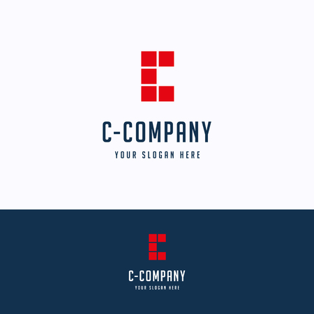 C company logo. Tile red blue logotype. Grid block template
