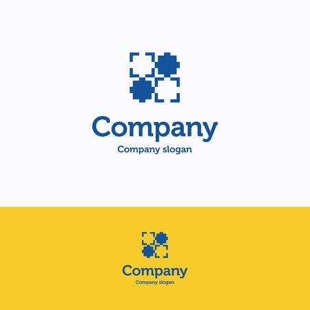 frame logo grid yellow blue logotype chess block template royalty