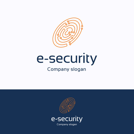 e-security logo. Fingerprints electronic board orange blue logotype. Criminalistics chip template Logó