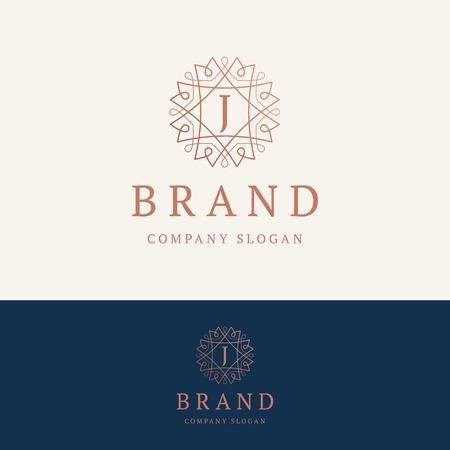 J brand logo. Ornamental monogram template. Round linear logo with letter J