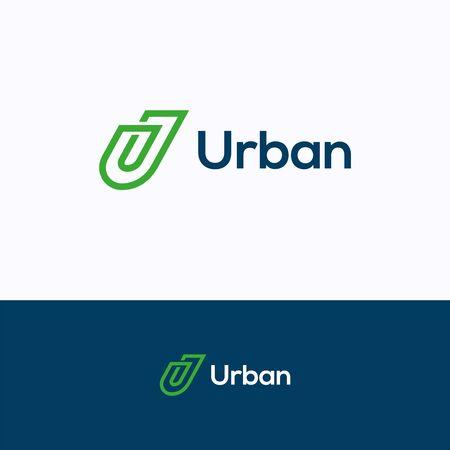 Logo firmy U. Szablon logo płaskiej linii. Logotyp klipsa z literą U