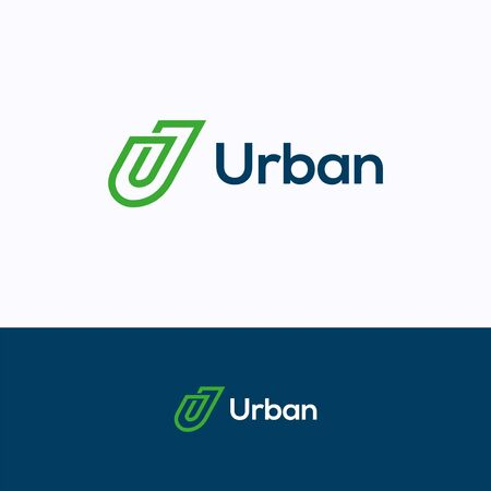 U company logo. Flat line logo template. Clip logotype with letter U