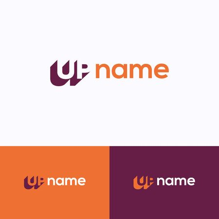 UP name logo. 3d letters dynamic logo template. Letter logotype with word UP