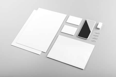 Photo. Template for branding identity. For graphic designers presentations and portfolios. Identity Mock-up isolated on gray and white background. Identity set mock-up. Photo mock up. Standard-Bild