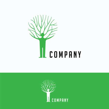Company genealogical tree logo. Man family tree logo template. Headhunter logotype with family tree